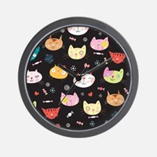 Crazy Cat Faces Wall Clock