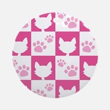 Cat Pawprint Pattern Round Ornament