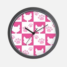 Cat Pawprint Pattern Wall Clock