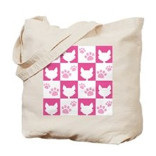 Cat Pawprint Pattern Tote Bag