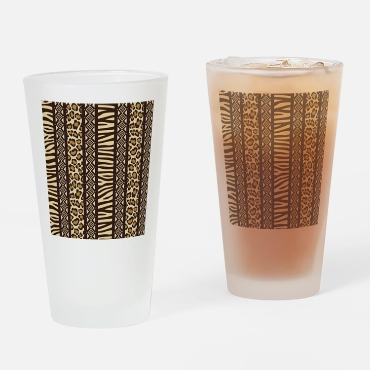 African Print Drinking Glass