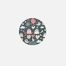 Cute Cats and Birds Mini Button