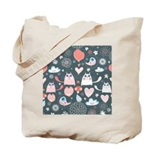 Cute Cats and Birds Tote Bag
