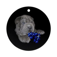 Blue Shar Pei Ornament (Round)