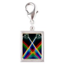 Light through prisms Silver Portrait Charm