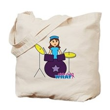Drummer Girl Purple and Blue Tote Bag