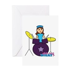 Drummer Girl Purple and Blue Greeting Card