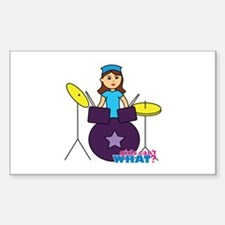 Drummer Girl Purple and Blue Decal