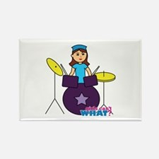 Drummer Girl Purple and Blue Rectangle Magnet