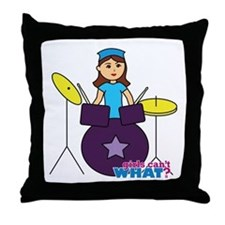 Drummer Girl Purple and Blue Throw Pillow