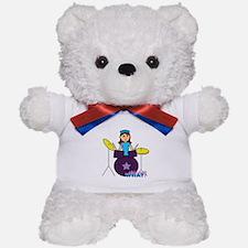 Drummer Girl Purple and Blue Teddy Bear