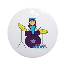 Drummer Girl Purple and Blue Ornament (Round)