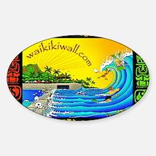waikiki wall Sticker (Oval)
