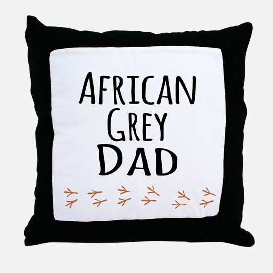 African Grey Dad Throw Pillow