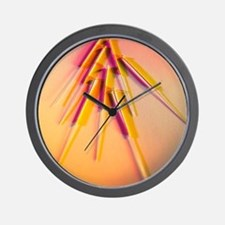 View of several acupuncture needles Wall Clock