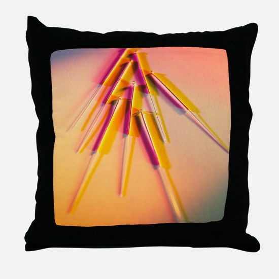 View of several acupuncture needles Throw Pillow
