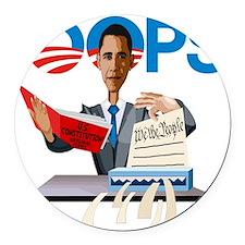 Obama at Work Round Car Magnet