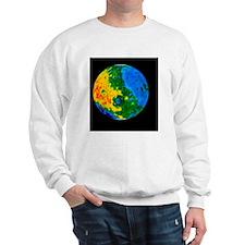 Topographic map of Moon, western hemisp Sweatshirt