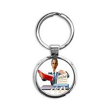 Obama Shredding the Constitution Round Keychain