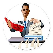 Obama Shredding the Constitution Round Car Magnet