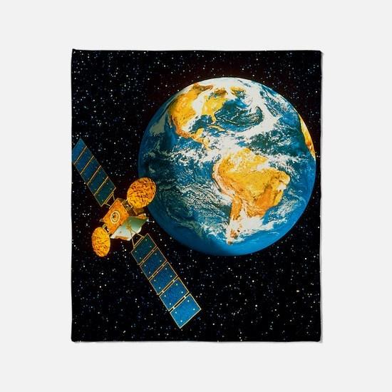 Artwork of a communication satellite Throw Blanket