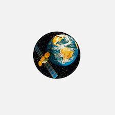 Artwork of a communication satellite o Mini Button