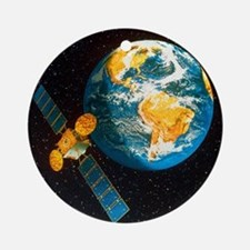Artwork of a communication satellit Round Ornament