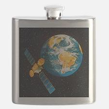 Artwork of a communication satellite over Ea Flask