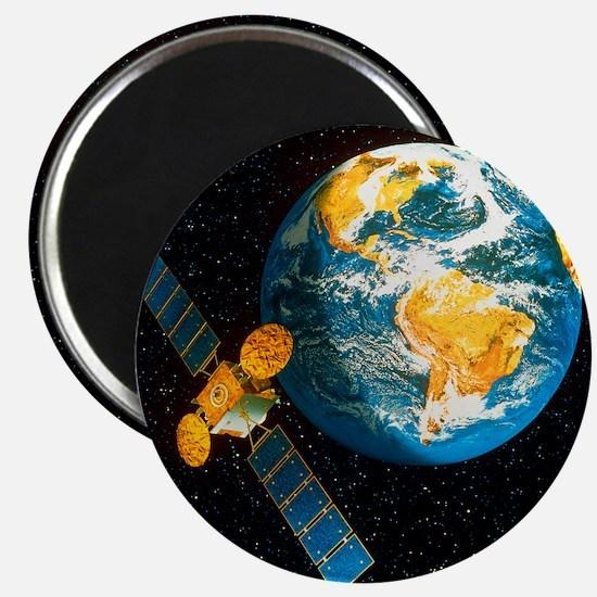 Artwork of a communication satellite over E Magnet