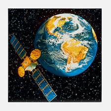 Artwork of a communication satellite  Tile Coaster