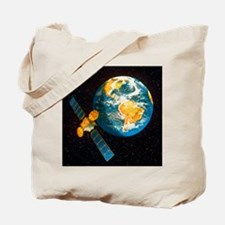 Artwork of a communication satellite over Tote Bag
