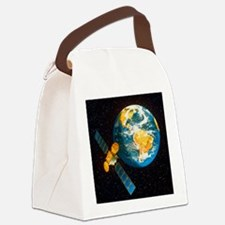 Artwork of a communication satell Canvas Lunch Bag