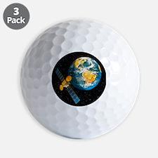 Artwork of a communication satellite ov Golf Ball