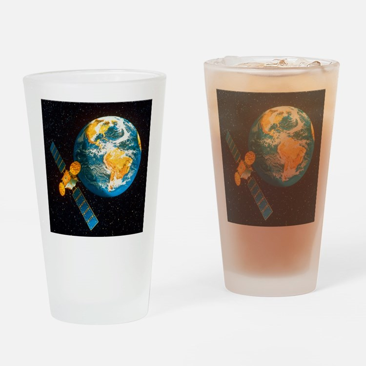 Artwork of a communication satellit Drinking Glass