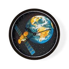 Artwork of a communication satellite ov Wall Clock