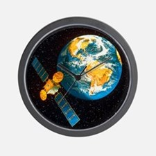 Artwork of a communication satellite ov Wall Clock