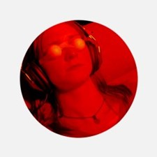 "Woman undergoing ganzfeld telepathy ex 3.5"" Button"