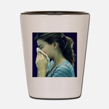 Woman blowing her nose Shot Glass