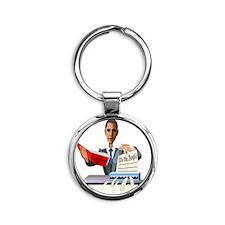 obamashred_middle Round Keychain