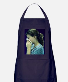 Woman blowing her nose Apron (dark)