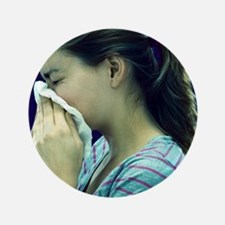 """Woman blowing her nose 3.5"""" Button"""