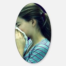 Woman blowing her nose Decal