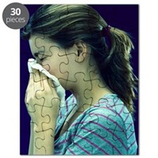 Woman blowing her nose Puzzle
