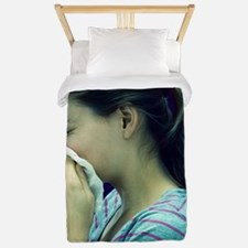 Woman blowing her nose Twin Duvet