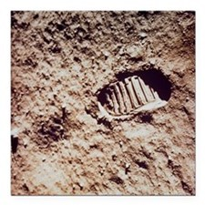 "Apollo 11 footprint on L Square Car Magnet 3"" x 3"""