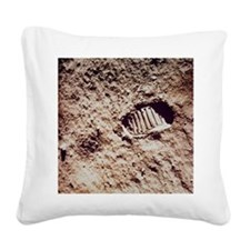Apollo 11 footprint on Lunar  Square Canvas Pillow