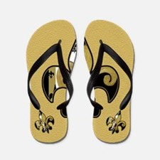 Black and Gold fleur de lis Flip Flops