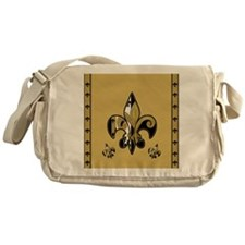 Black and Gold fleur de lis Messenger Bag