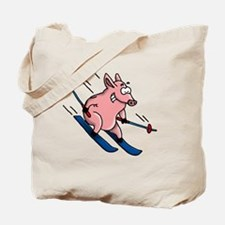 skiing pig Tote Bag