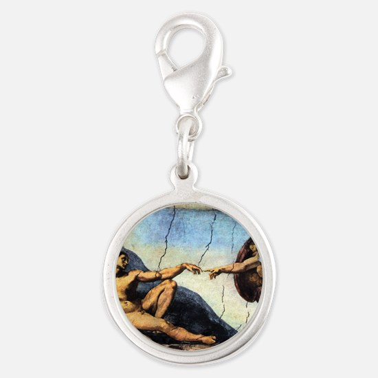 Michelangelo Creation Of Adam Silver Round Charm